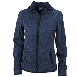 James & Nicholson - Damen Strickfleecejacke / denim-melange/black, S -