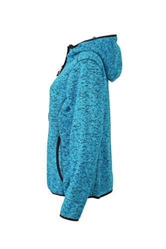 James & Nicholson Damen Sweatshirt Fleece Ladies'Knitted Hoody blau (Blue-Melange/Black) Large -