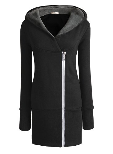 Miusol® Damen Herbst Winter Jacke Hooded Mantel Kapuzen Pullover Sweats 34-50 (38/L, Schwarz.) -