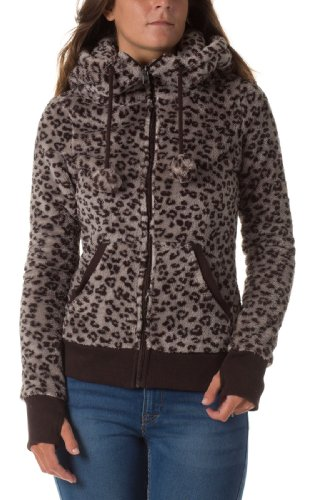 Stitch & Soul Damen Fleece Jacke Kapuze mit Öhrchen Leo Allover middle brown S -