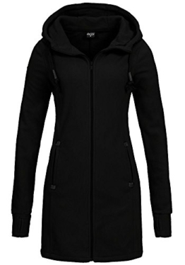 Sublevel Damen Fleece Mantel LSL-258 Kapuze black M -
