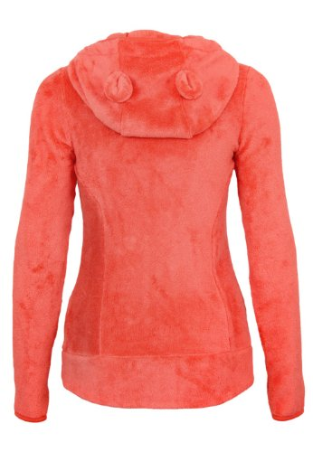 Sublevel Damen Teddy Fleece Jacke Stehkragen mit Bommel Kapuze mit Öhrchen orange XS -