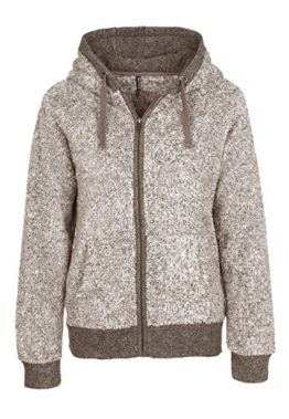 Sublevel Damen Teddyfleece-Jacke mit Kapuze light brown L -