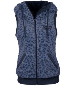 Teddyfleeceweste Safari Look Damen by Eight2Nine mit Kapuze und Ohren Damenweste Fleeceweste Leo Style blau, M -